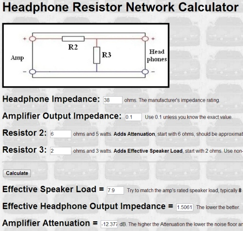 The Calculated Effective Speaker Load Is Total Headphones Preferred Network Circuit Impedance Resistance Of 7 9 Ohms And Attenuation Shown As