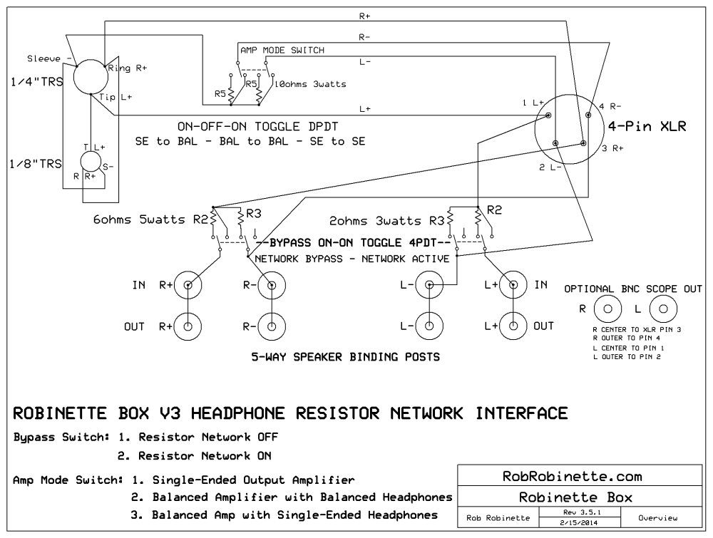 Headphone-to-Speaker-Amp Interface With Switched XLR + 1/4\