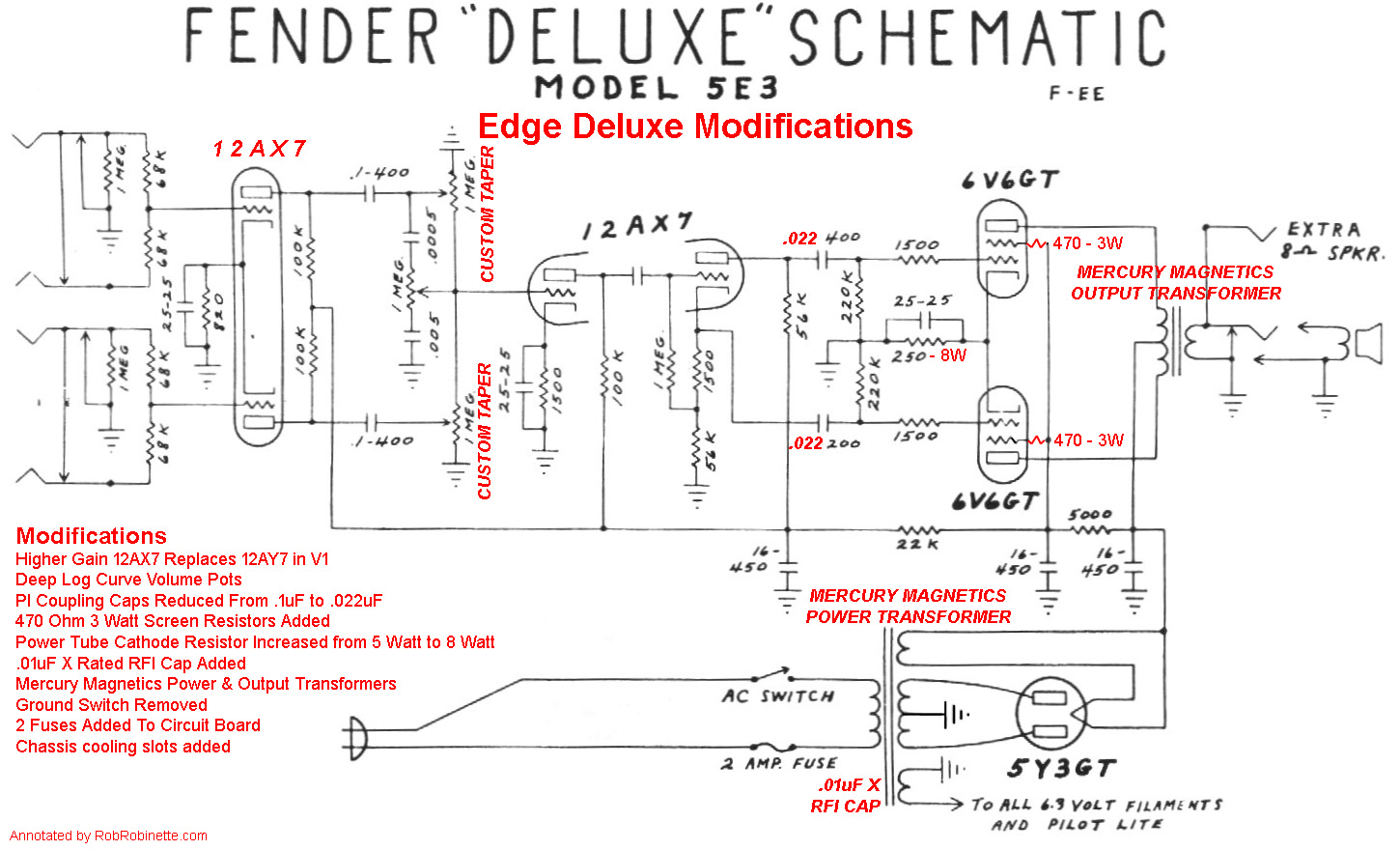 5e3 Mods Electronics Schematics Depot Audio Tone Generator Both Volume Pots Phase Inverter Caps And The V1 Preamp Are Different From A Standard Deluxe Transformers Mercury Magnetics