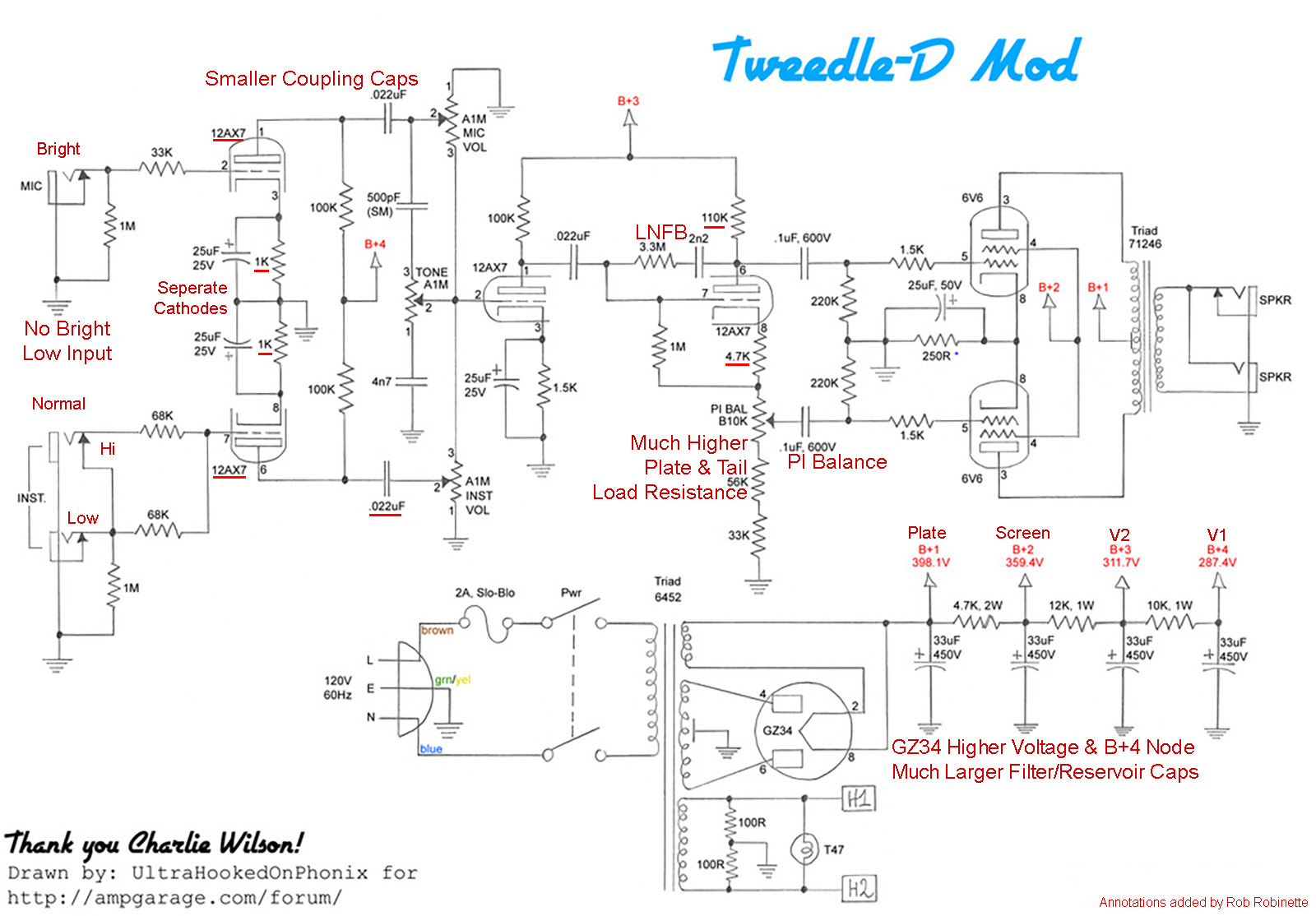 Amp Voicing Ac Potentiometer Wiring I Have Highlighted The Differences Between Tweedle Dee And A Standard Fender 5e3 Deluxe With Red Text Phase Inverter Balance Pot Pi Bal 10k Linear