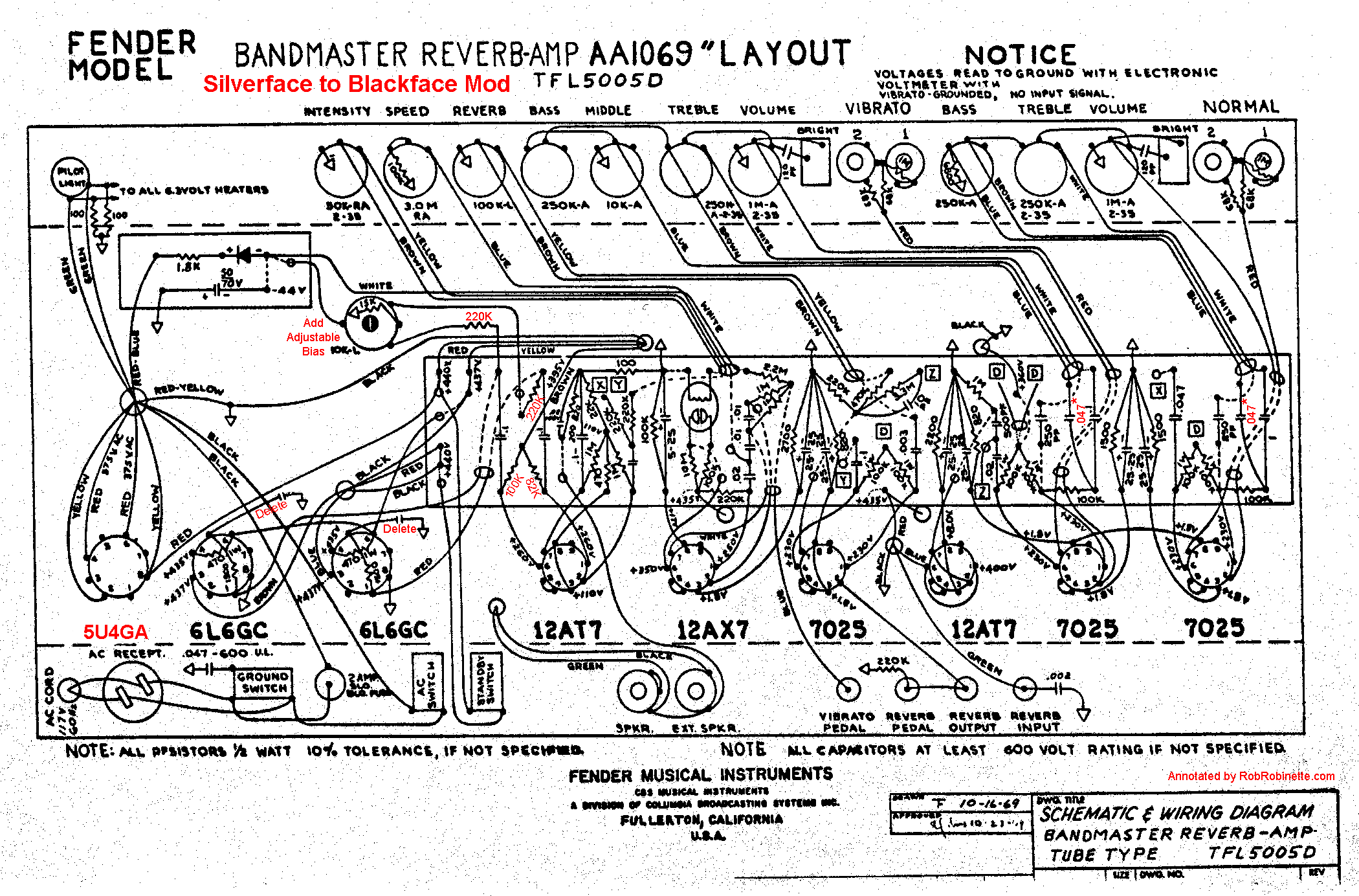 Ab763 Mods Guitar Push Pull Switch Wiring Diagram The Vibroverb Came With An 8 Ohm Output Transformer 820 47 Negative Feedback Circuit Bandmaster Reverb Uses A 4