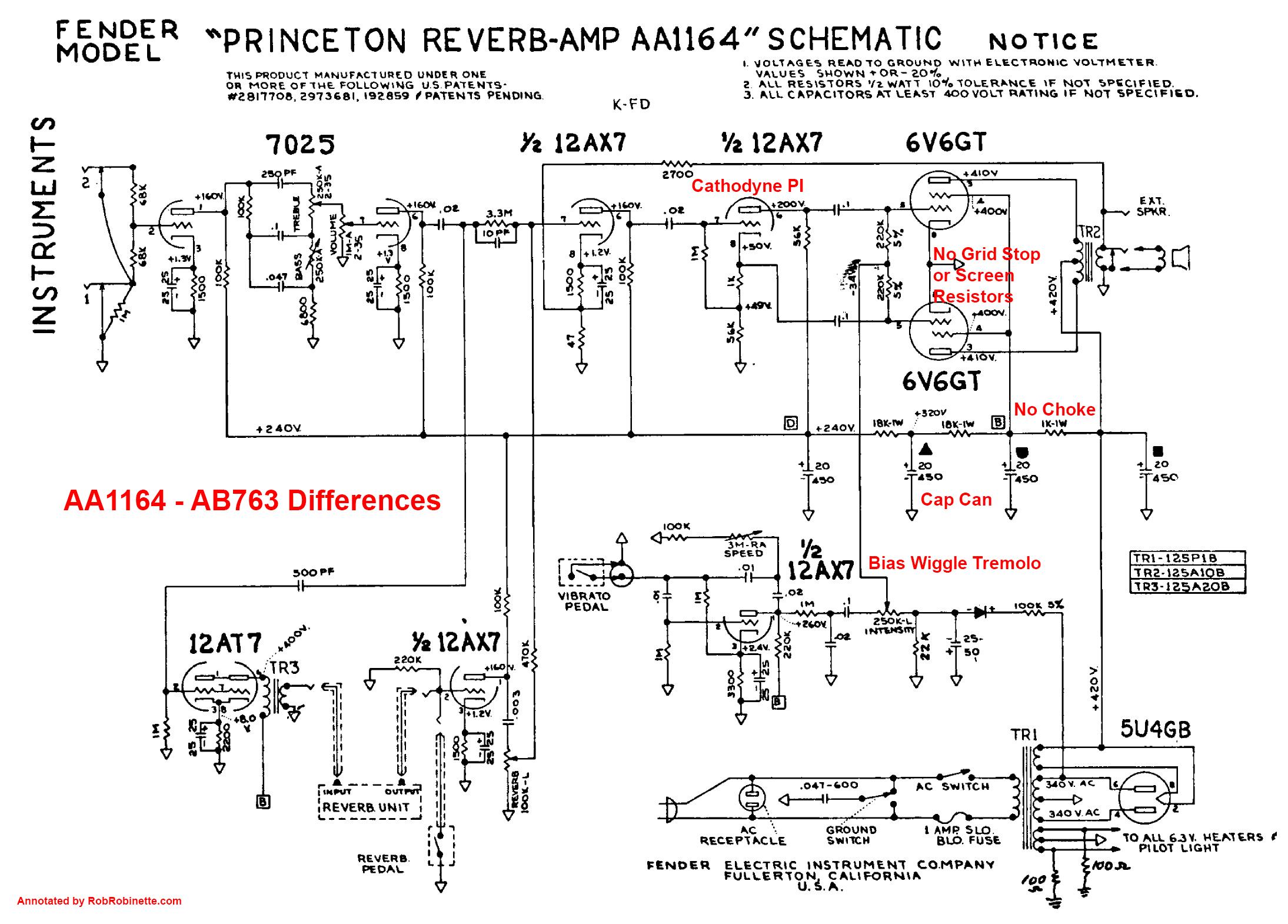[SCHEMATICS_48YU]  Princeton Reverb | Fender Princeton Wiring Diagram |  | Rob Robinette's
