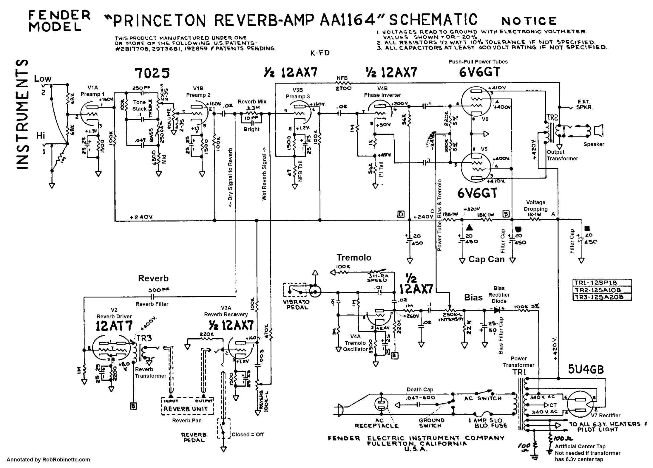 [SCHEMATICS_4JK]  Princeton Reverb | Fender Princeton Wiring Diagram |  | Rob Robinette's