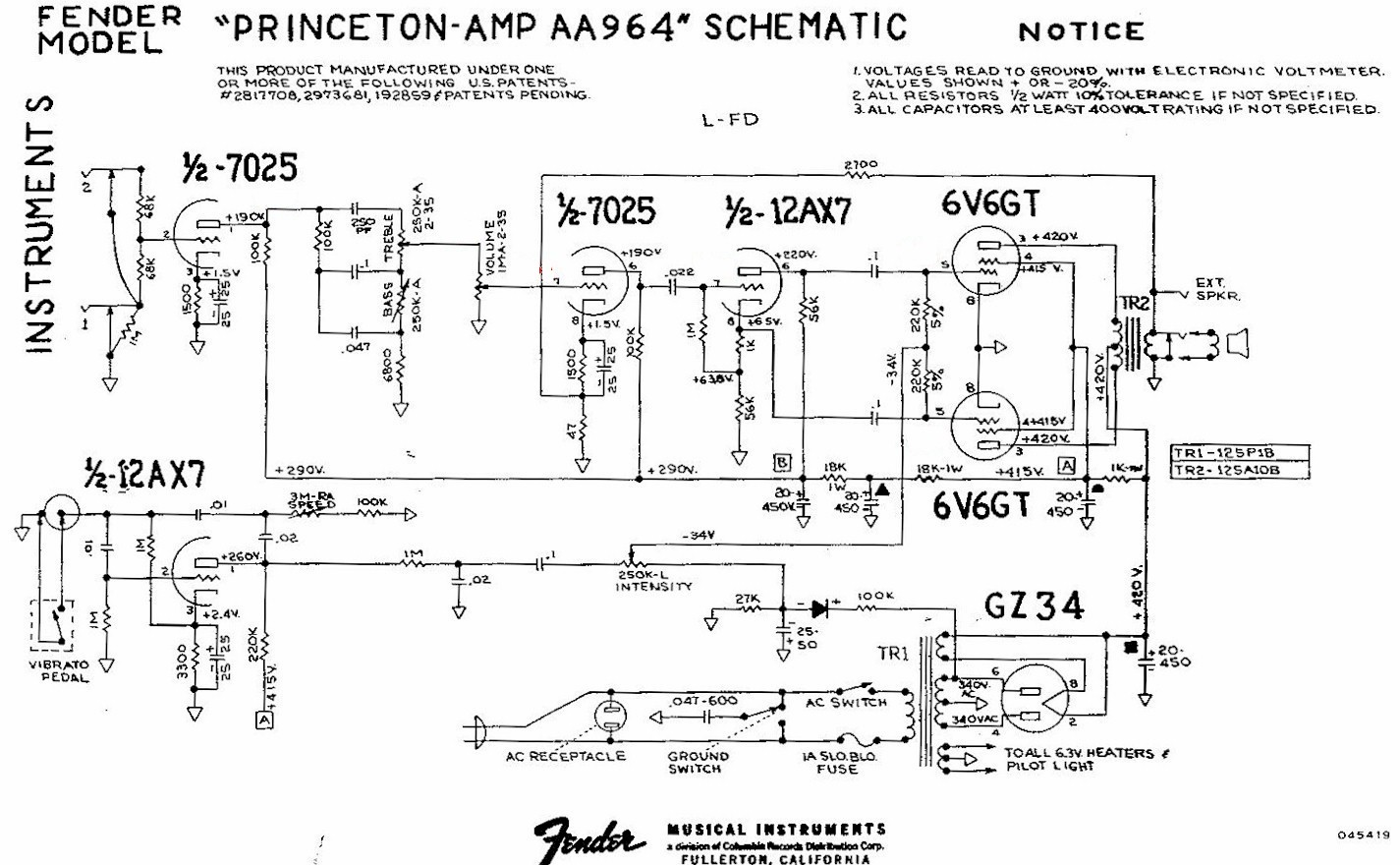 [SCHEMATICS_44OR]  Princeton Reverb | Fender Princeton Wiring Diagram |  | Rob Robinette's