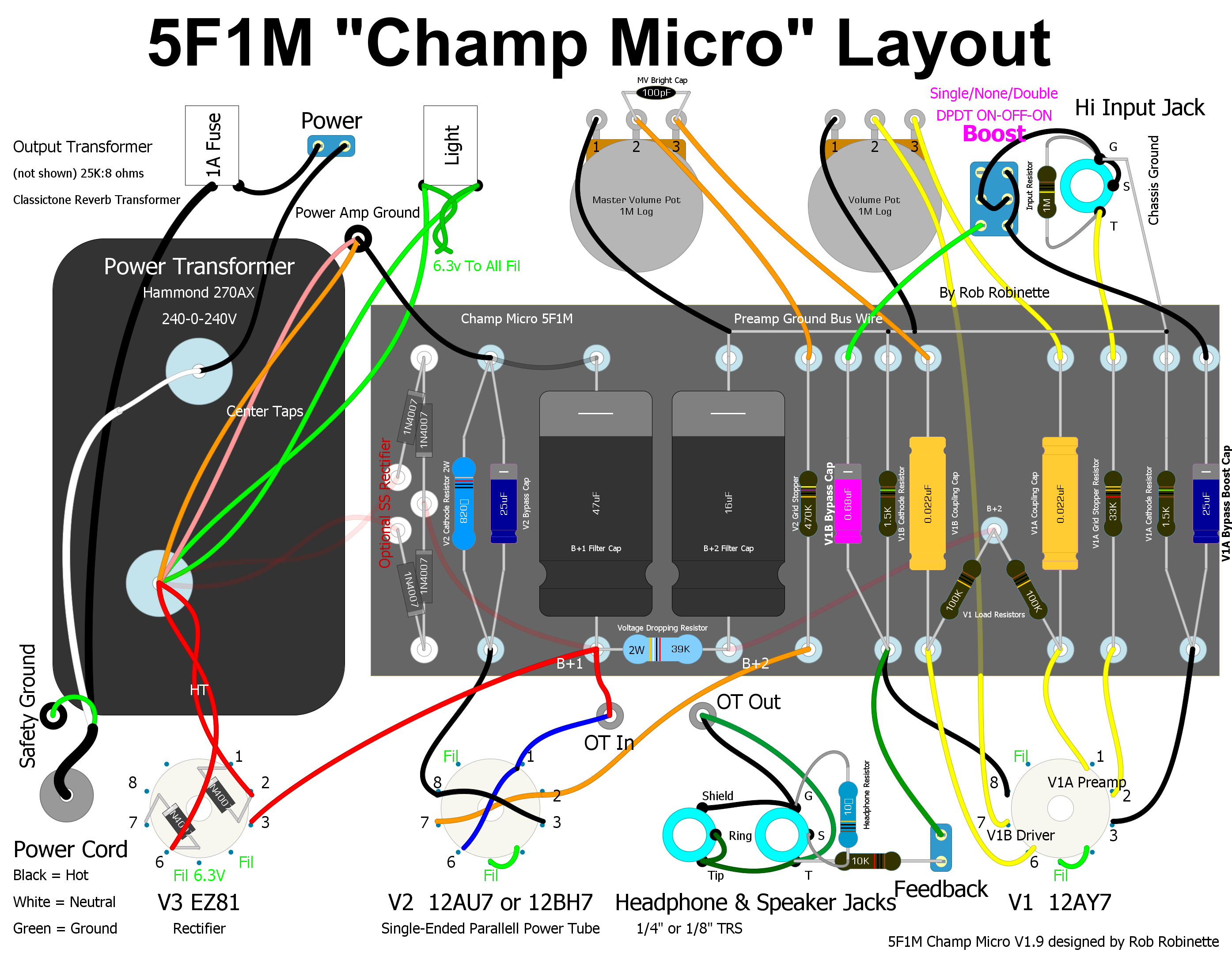Champ Micro Double Boost Mod on 1 Way Switch Wiring Diagram