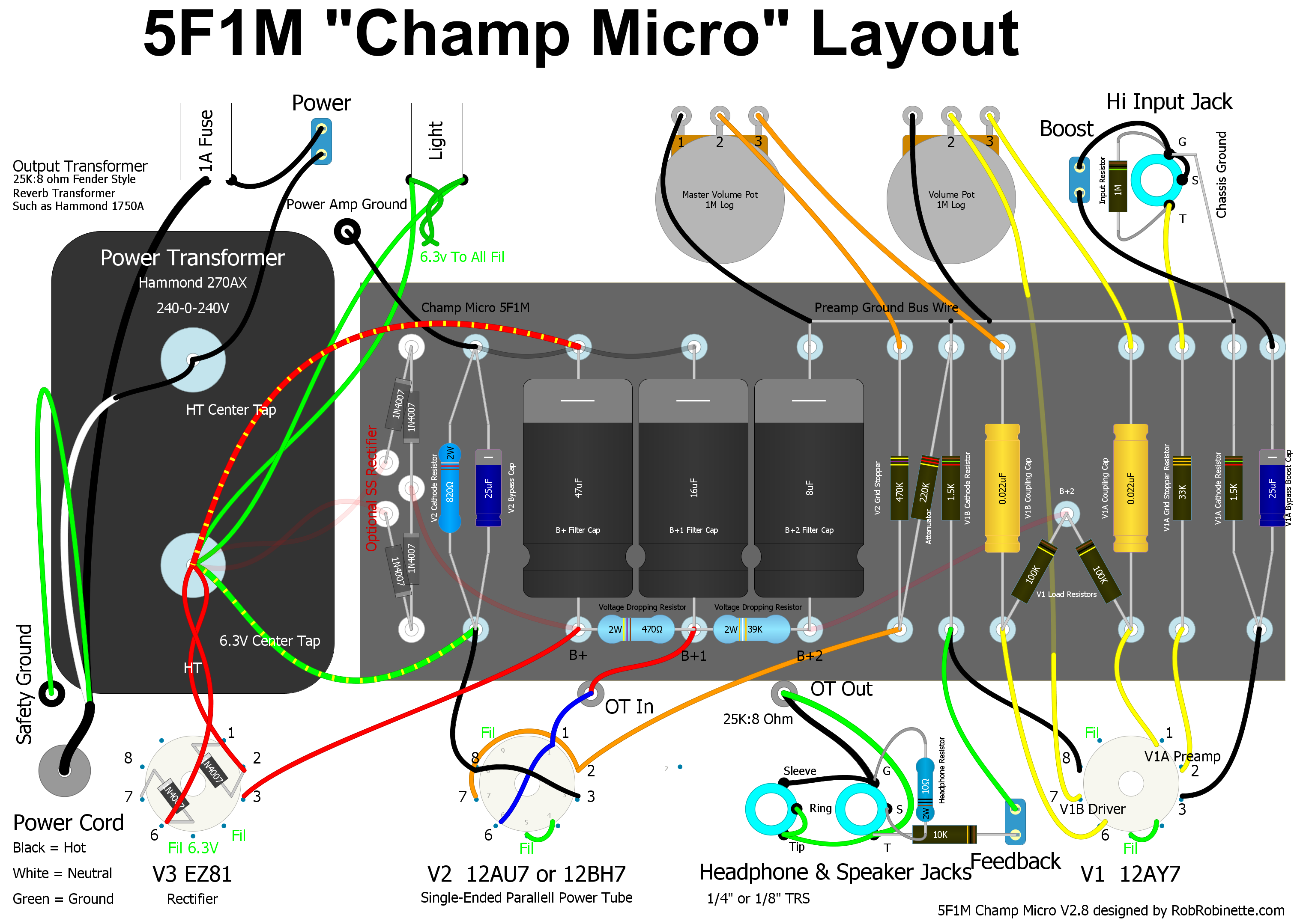 Champ Micro Fuse Box Video Tube Note An Optional Diode Rectifier Is Shown Left Edge Of Circuit Board Along With Ez81 Choose One Click The Image To Download