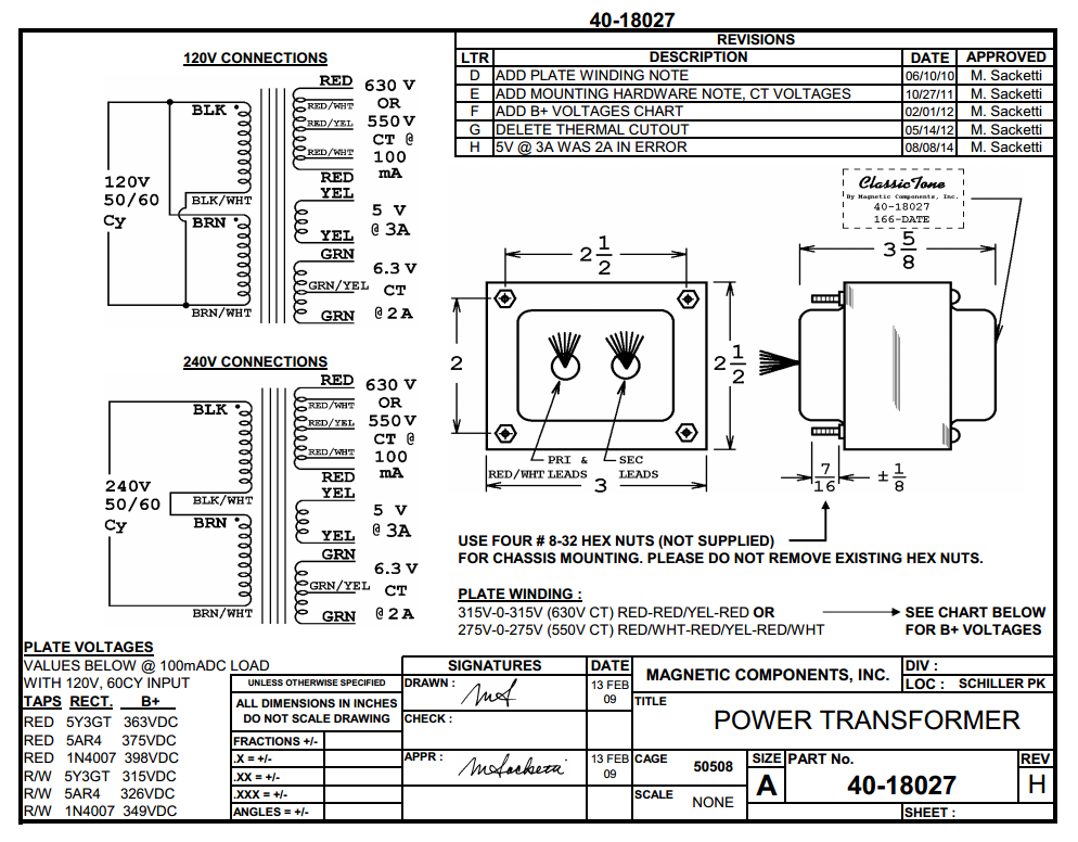 Wiring Diagram Transformer : Hammond transformer wiring diagram