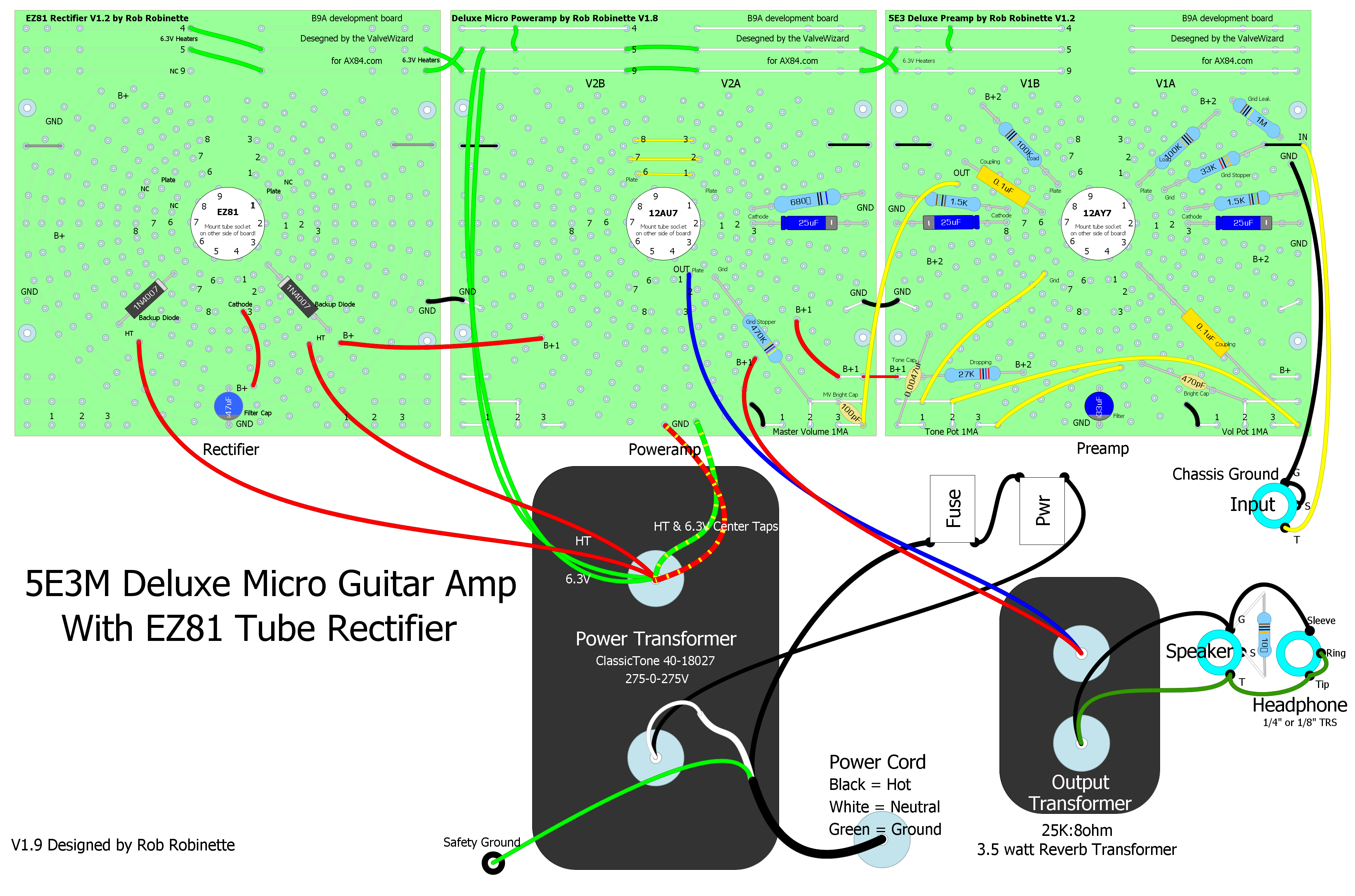 Deluxe Micro Wiring Questions On New Guitar Telecaster Forum The Complete With Tube Rectification Using Three B9a Boards