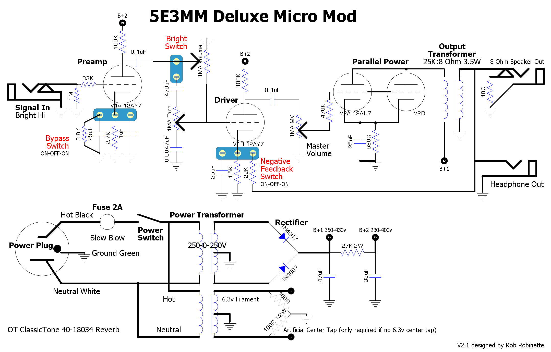 Deluxe Micro Variable Transformers Schematics Wiring Diagrams Download As Pdf By Bright Switch V1a Cathode And Negative Feedback Are Added In The Mod Version Of All Switches Give You Option