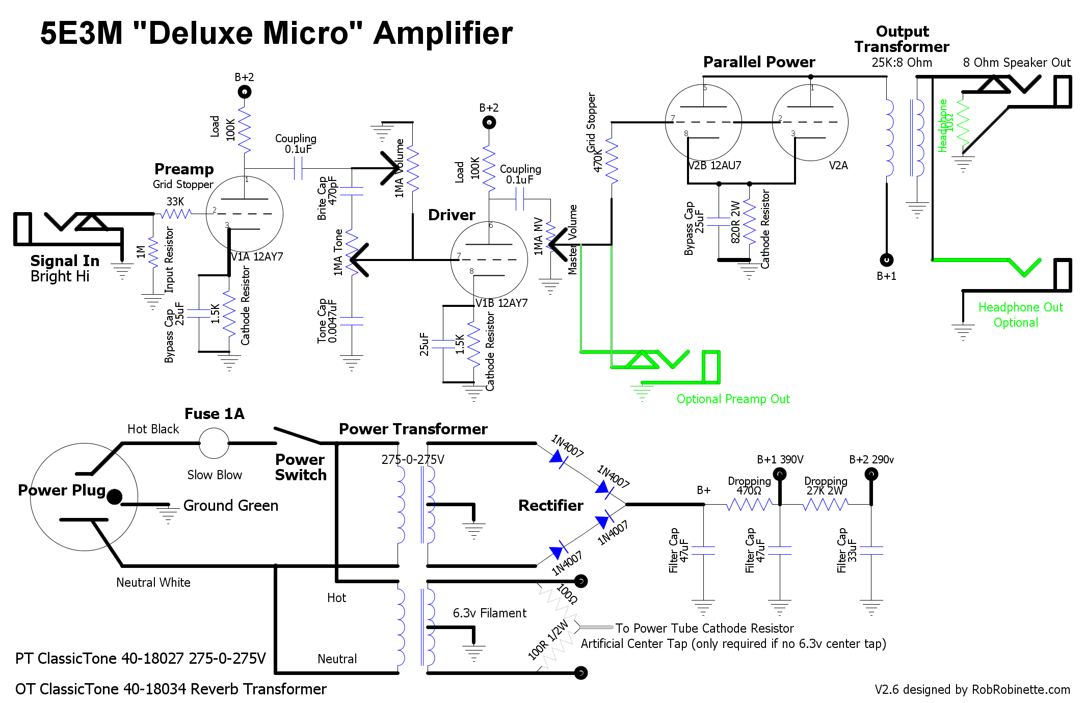 deluxe micro layouts below show optional ez81 tube rectifier if you prefer an all tube amplifier click on the image to see a hi res pdf of the schematic