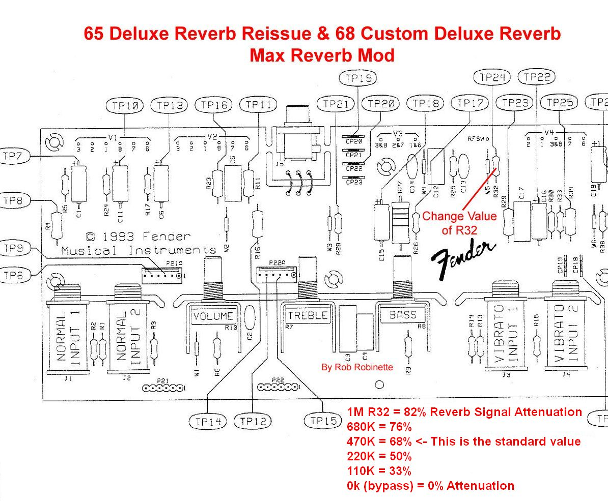 Ab763 Mods R32 Ac Wiring Diagram For The 65 Deluxe Reverb Reissue Attenuation Resistor Is 68 Custom Has A 15m Circuit Boards Have This