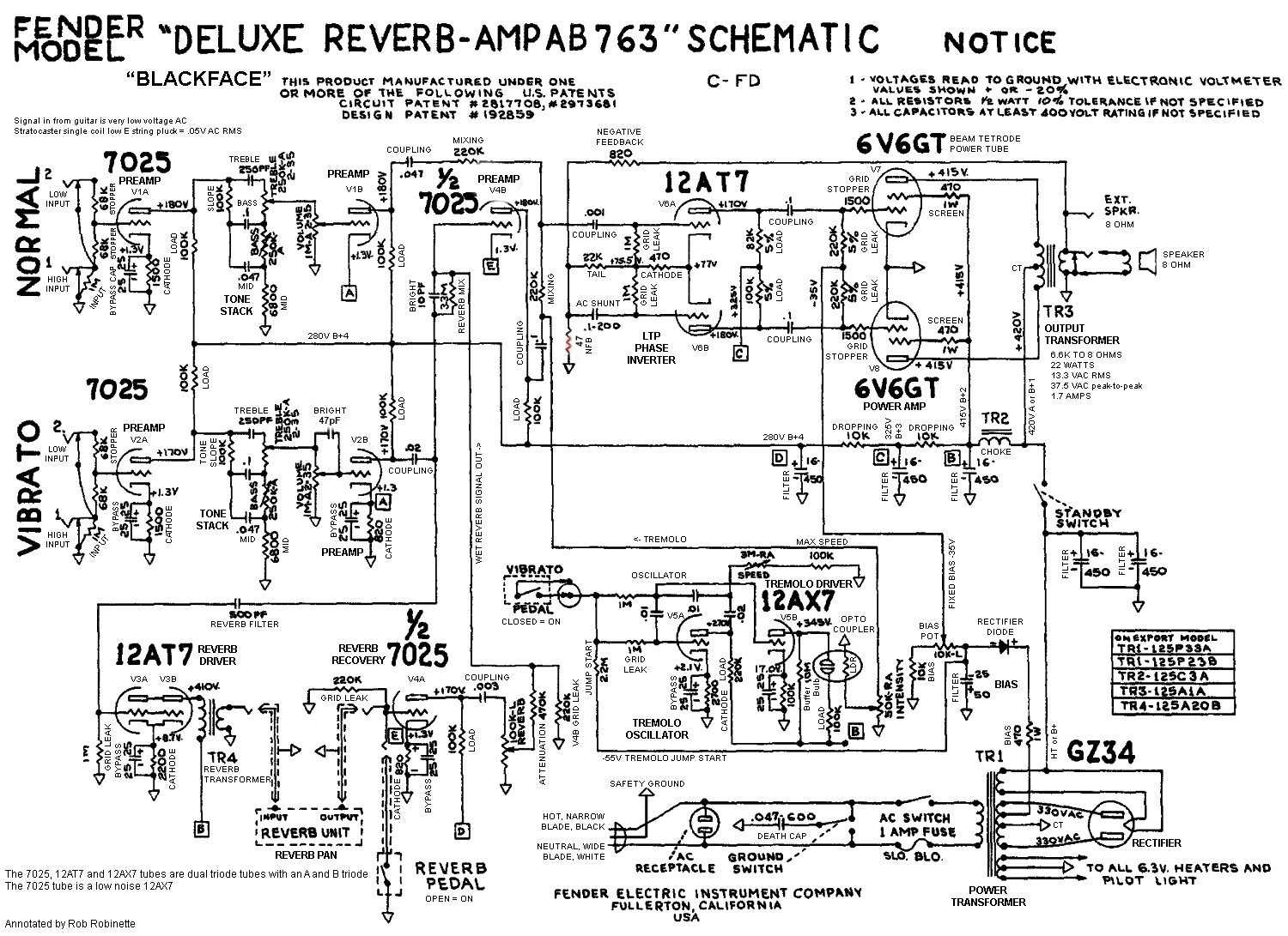 Reading Schematics Electronic Circuits Notice The Reverb Circuit At Lower Left And Tremolo Center Every Component Function Is Listed On This Schematic Click Image For Full
