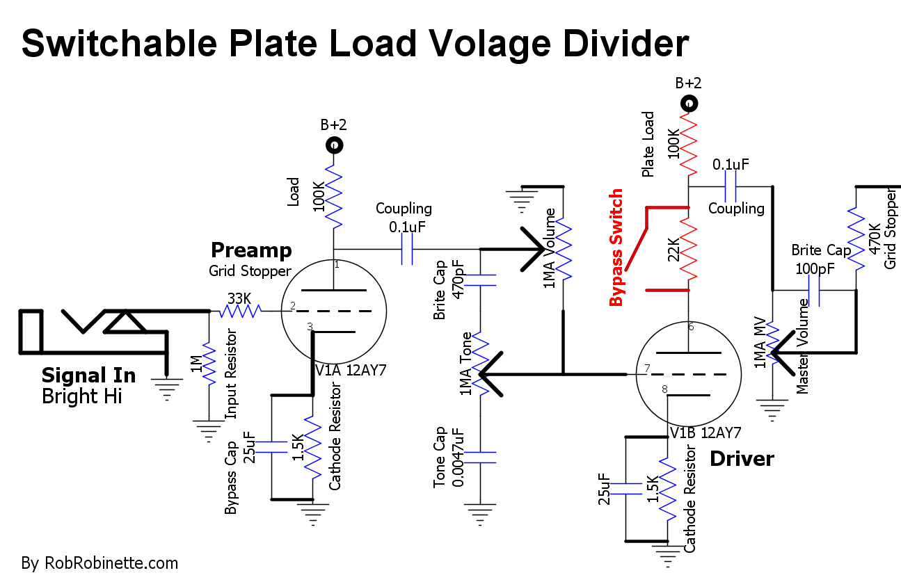 Amp Mods Voltdividercircuitdiagram2gif 5726 Bytes With The Switch Open 100k Plate Load Resistor And 22k Form A Voltage Divider To Cut 18 Of Signal Coming Off V1b