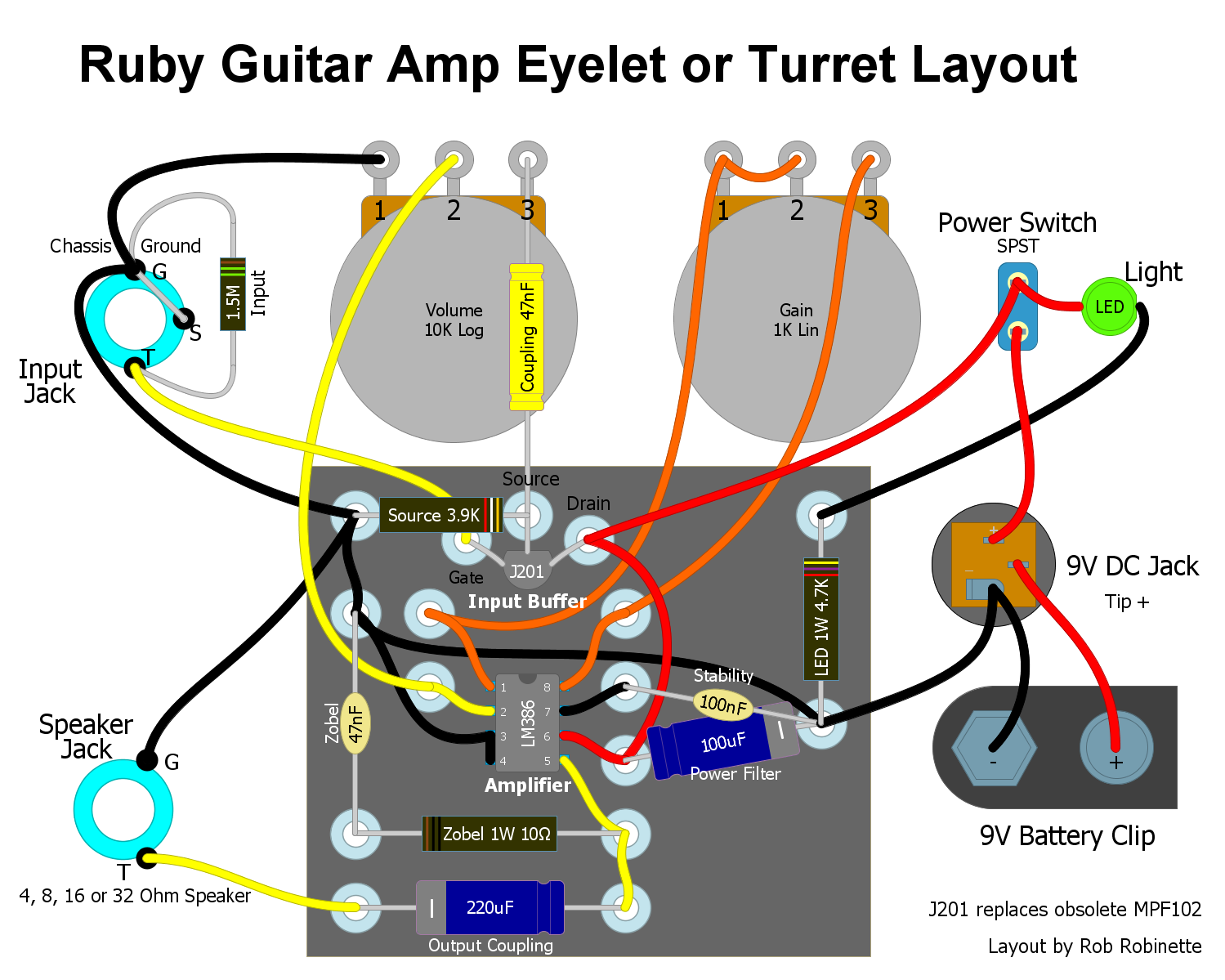 How The Ruby Works Emitter Audio Preamp Schematic Using 1 Npn Transistor Circuit Drawing Use Heat Sink Clips Between Soldering Iron And J201s Body To Keep From Damaging An 8 Pin Dip