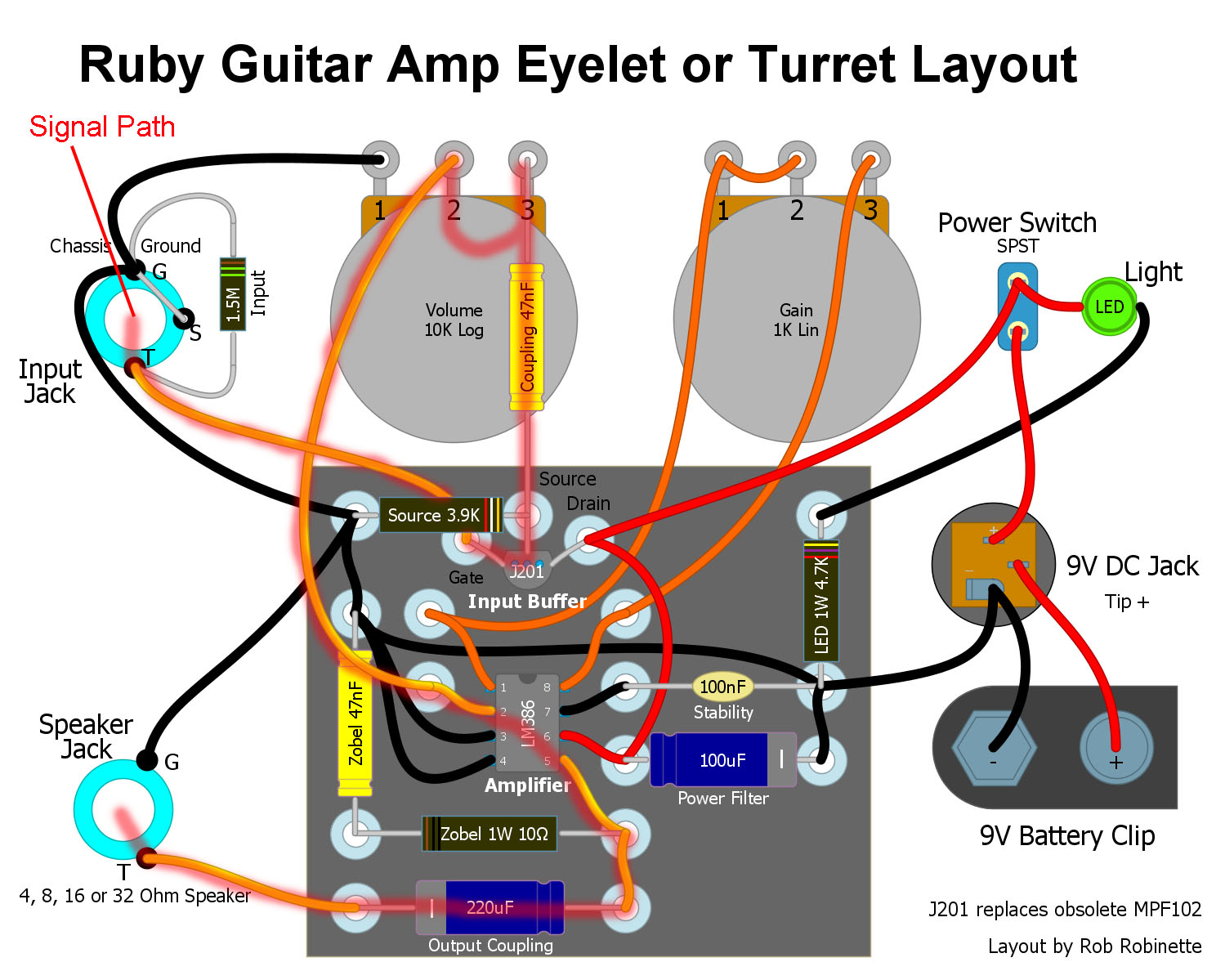 Ruby_Guitar_Amp_Eyelet_Layout_Signal_Path Hand Wired Tube Amp Wiring Diagram on