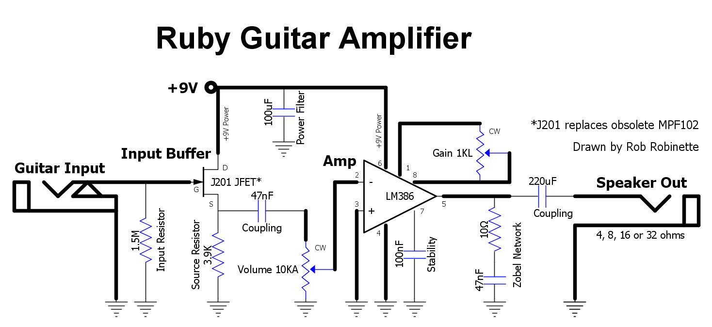 How The Ruby Works Transistors Dc Voltage Grounded With Ac Input Electrical J201 Jfet Junction Gate Field Effect Transistor Is An Buffer And Keeps Lm386 Amplifier From Affecting Guitar Circuit