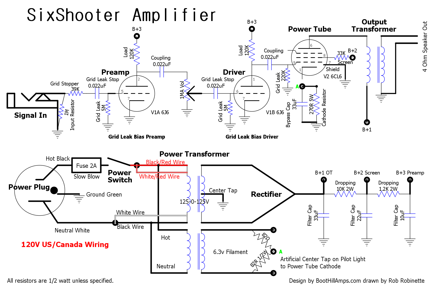 Click the image to see the hi-res PDF schematic. The international 240V  schematic can be seen here. Click here to download the DIYLC file.