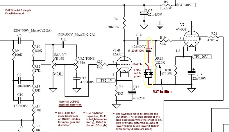 Special6UltraMod on tone control preamp schematic