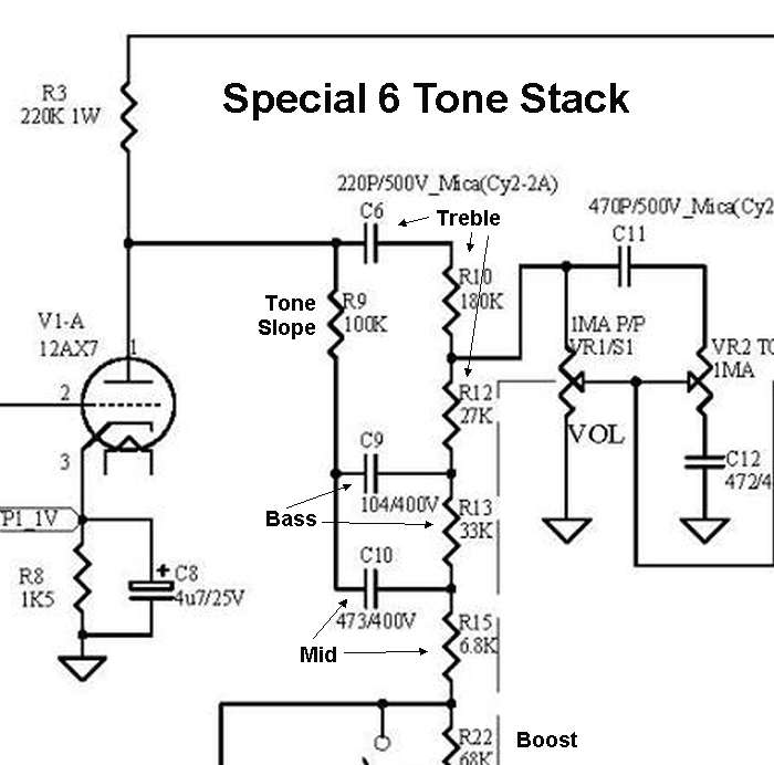 vht mods to install tone pots in the special 6 non ultra you would treble replace r10 and r12 a 250ka pot and wire it like the ultra 6 mod above