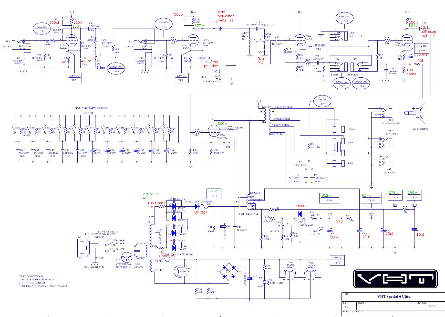 Low Power Guitar Tube Amp Schematic Wire Data Schema Otl Headphone Amplifier Circuit Diagram Amplifiercircuit Vht Mods 6v6 Schematics Bass