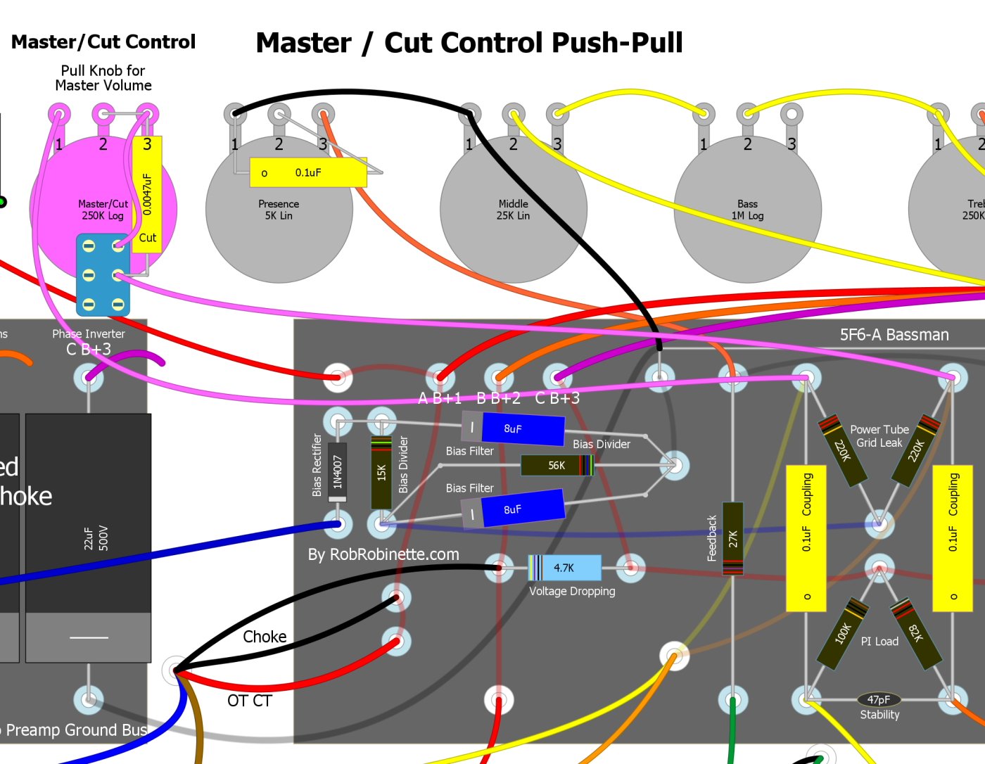 Amp Voicing Low Pass Filter And Audio Amplifier Circuit Diagram Super You Can Turn A Cut Control Into Trainwreck Type 3 Master Volume By Simply Jumpering Around The Cap I Use Push Pull 250k Log Pot To Select
